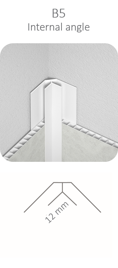 White Internal Angle B5 Profile 2.7mt for Vilo Motivo Wall Panels